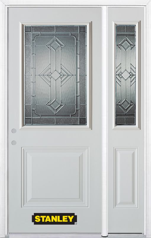 Stanley Doors 52.75 inch x 82.375 inch Neo Deco Zinc 1/2 Lite 1-Panel Prefinished White Right-Hand Inswing Steel Prehung Front Door with Sidelite and Brickmould