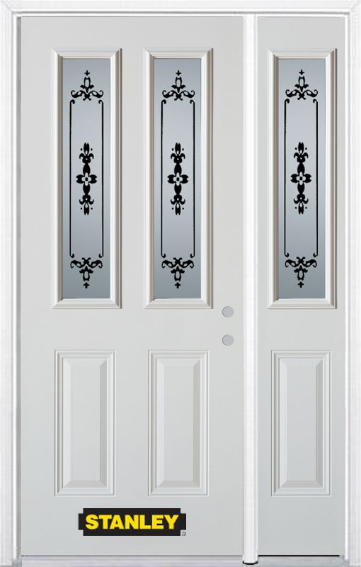 Stanley Doors 48.25 inch x 82.375 inch Renoir 2-Lite 2-Panel Prefinished White Left-Hand Inswing Steel Prehung Front Door with Sidelite and Brickmould