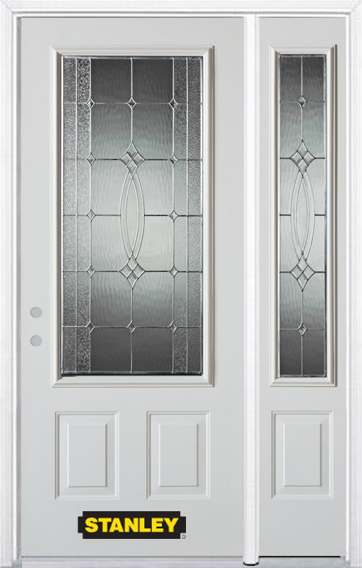 48-inch x 82-inch 3/4-Lite 2-Panel White Steel Entry Door with Sidelite and Brickmould