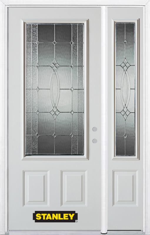 Stanley Doors 48.25 inch x 82.375 inch Diamanti Zinc 3/4 Lite 2-Panel Prefinished White Left-Hand Inswing Steel Prehung Front Door with Sidelite and Brickmould
