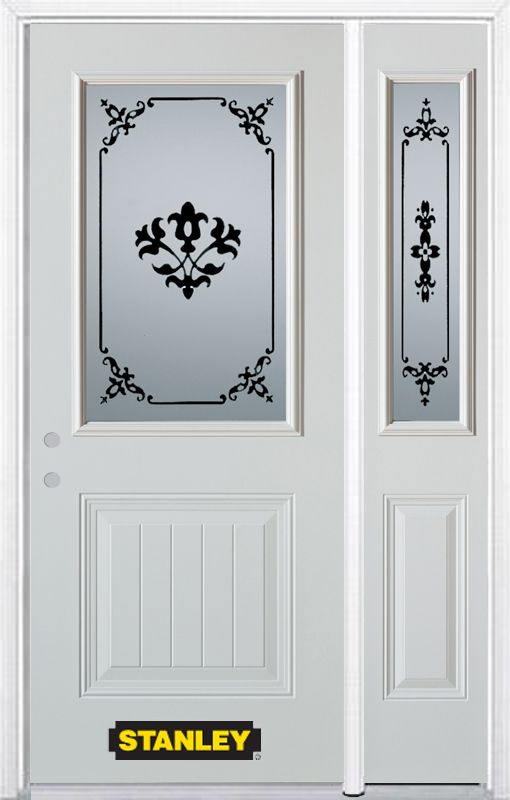 52-inch x 82-inch Renoir 1/2-Lite 1-Panel White Steel Entry Door with Sidelite and Brickmould