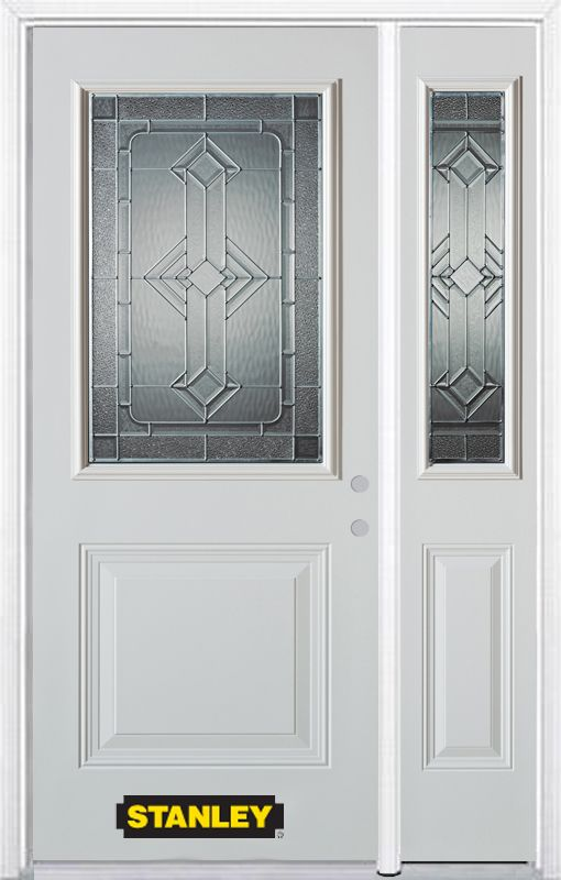 Stanley Doors 48.25 inch x 82.375 inch Neo Deco Zinc 1/2 Lite 1-Panel Prefinished White Left-Hand Inswing Steel Prehung Front Door with Sidelite and Brickmould