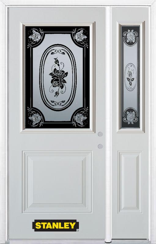 Stanley Doors Mtisse 1/2 Lite 1-Panel Prefinished White Left-Hand Inswing Steel Prehung Front Door - ENERGY STAR®