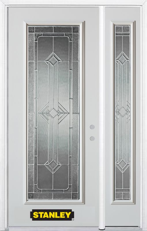 50-inch x 82-inch Neo-Deco Full Lite White Steel Entry Door with Sidelite and Brickmould