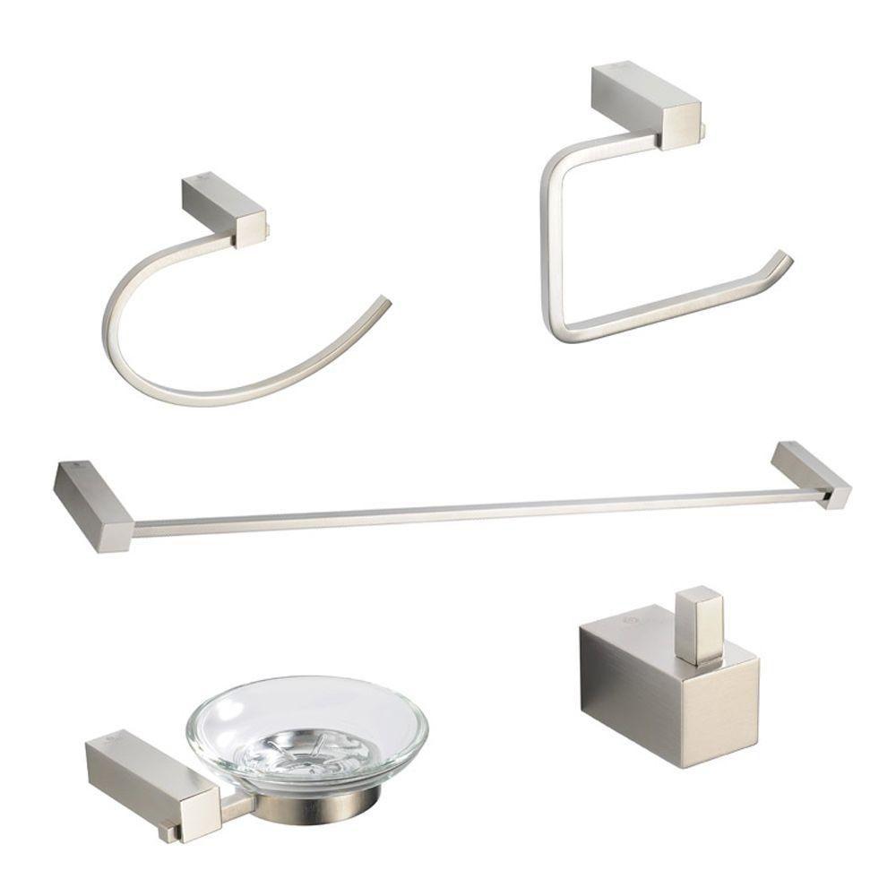Ottimo Ensemble d'accessoires de salle de bains 5 pièces - Nickel brossé