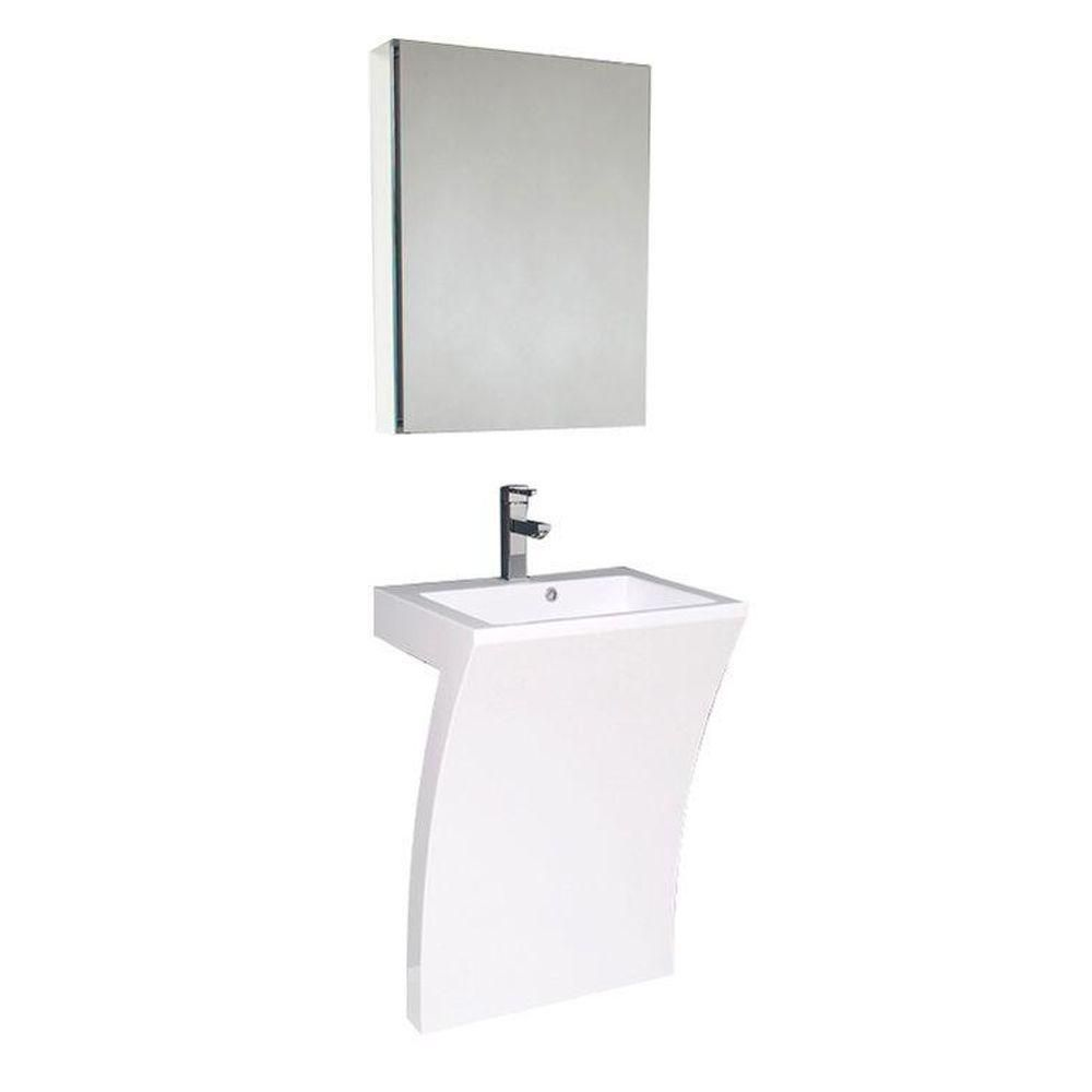 Quadro 22 1/2-inch W Vanity in White Finish with Pedestal Sink and Medicine Cabinet