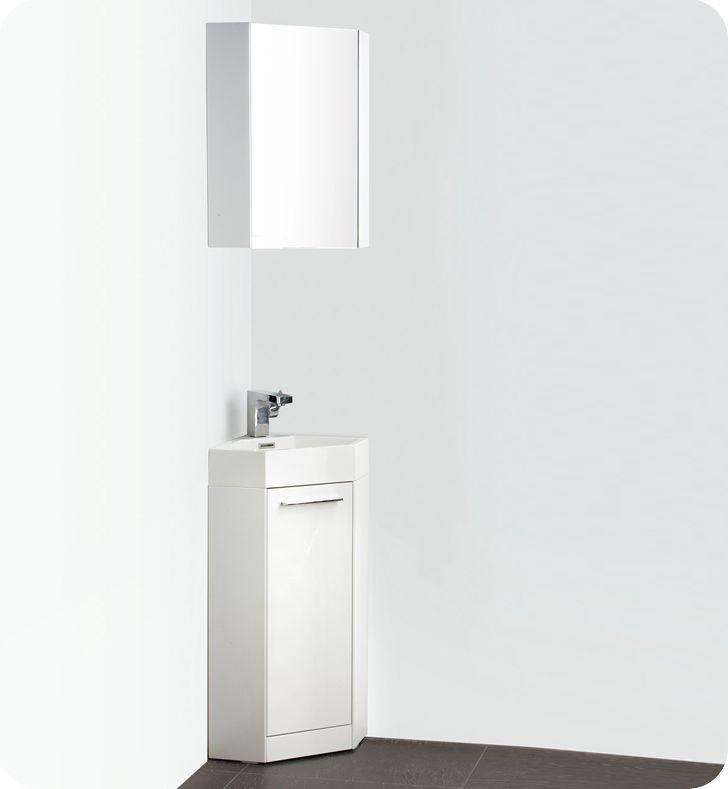 Fresca coda meuble lavabo de coin de salle de bains moderne blanc 14 po avec - Meuble en coin pour salle de bain ...