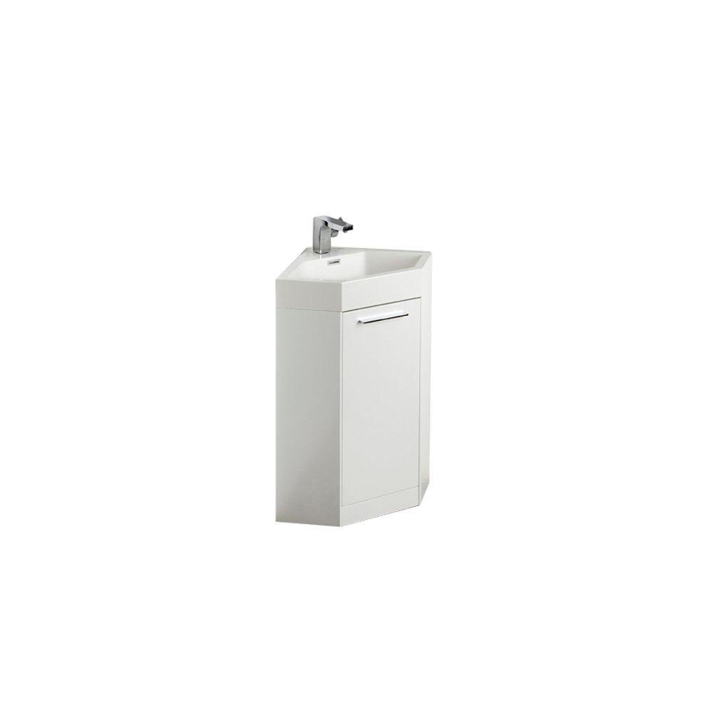 Coda Meuble-lavabo de coin de salle de bains moderne blanc 18 po avec armoire à pharmacie en opti...