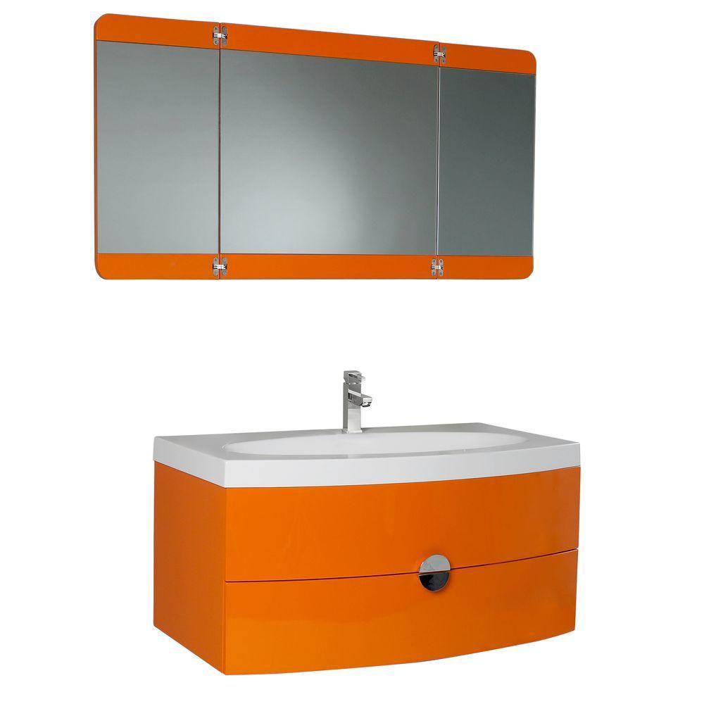 Energia 36 1/4-inch W Vanity in Orange Finish with 3 Panel Folding Mirror