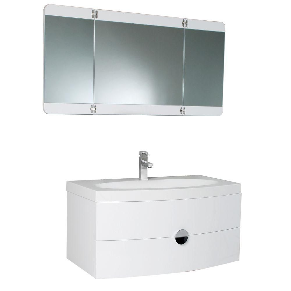 Energia 36 1/4-inch W Vanity in White Finish with 3 Panel Folding Mirror