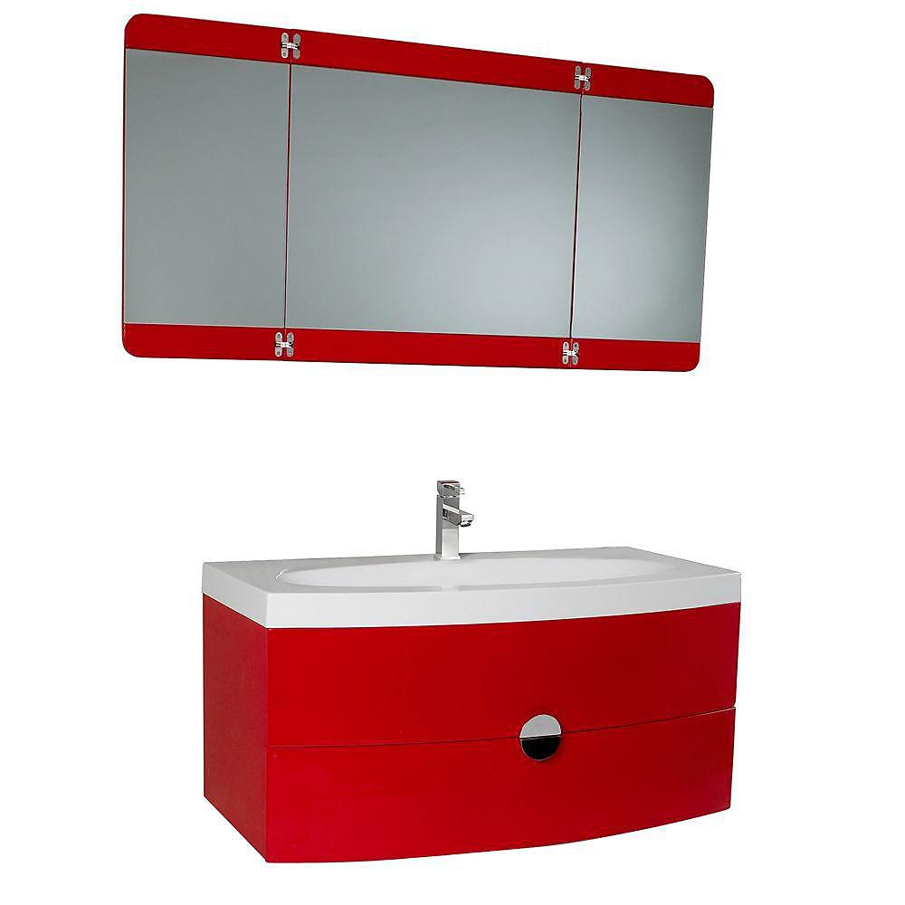 Fresca energia meuble lavabo de salle de bains moderne rouge avec miroir pliant trois pann - Meuble moderne rouge ...