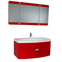Fresca Energia 36-inch W 1-Drawer Wall Mounted Vanity in Red With Acrylic Top in White