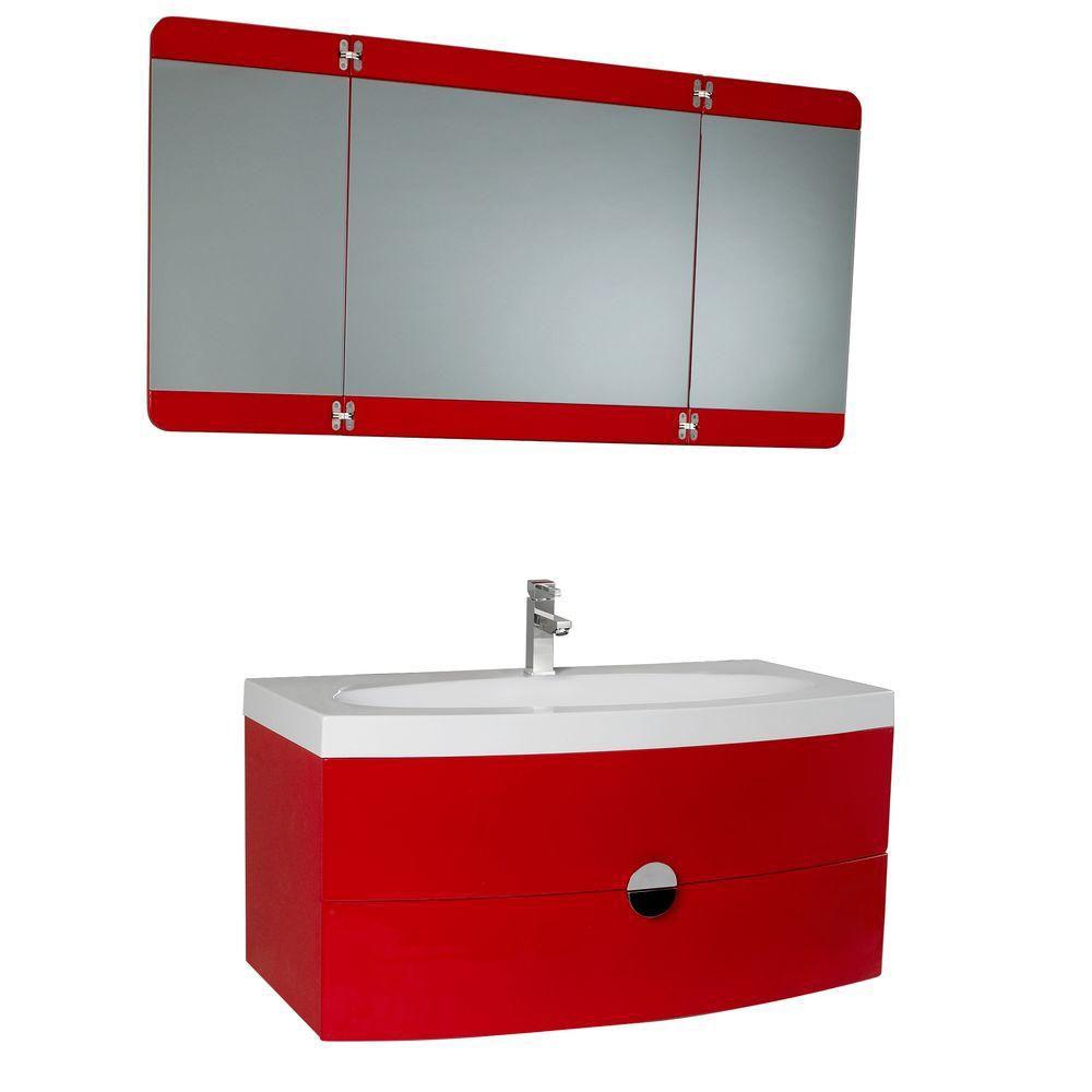Energia Meuble-lavabo de salle de bains moderne rouge avec miroir pliant trois panneaux