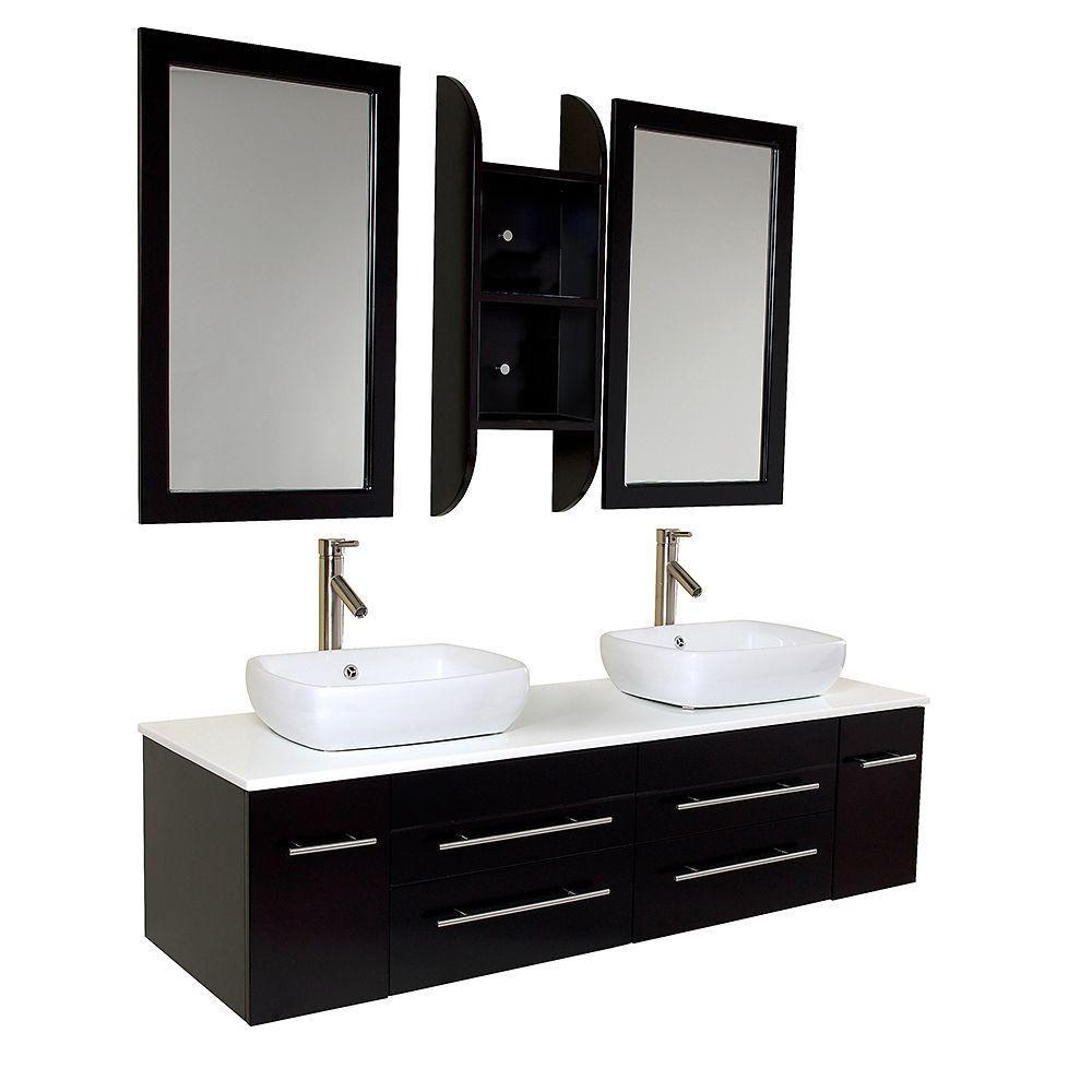 Bellezza Meuble-lavabo de salle de bains moderne à double lavabo vasque espresso
