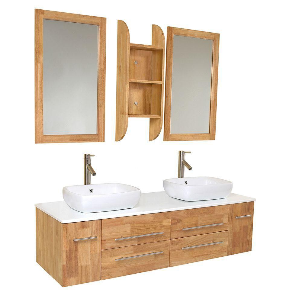 Bellezza Meuble-lavabo de salle de bains moderne à double lavabo vasque bois naturel