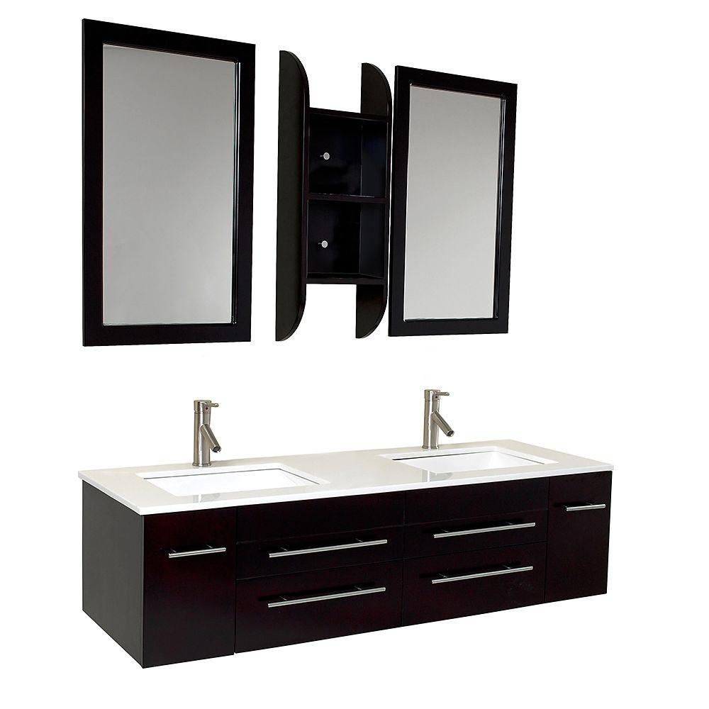 Fresca Bellezza 59 Inch W Double Sink Vanity In Espresso Finish With Mirror The Home Depot Canada