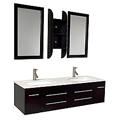 Fresca Bellezza 59-inch W 4-Drawer 2-Door Wall Mounted Vanity in Black With Marble Top in White, 2 Basins