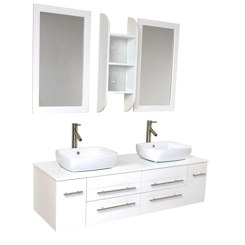 Bellezza 59-inch W Double Sink Vanity in White Finish with Mirror