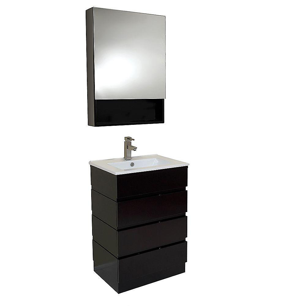 Amato 24-inch W 3-Drawer Freestanding Vanity in Black With Ceramic Top in White With Faucet