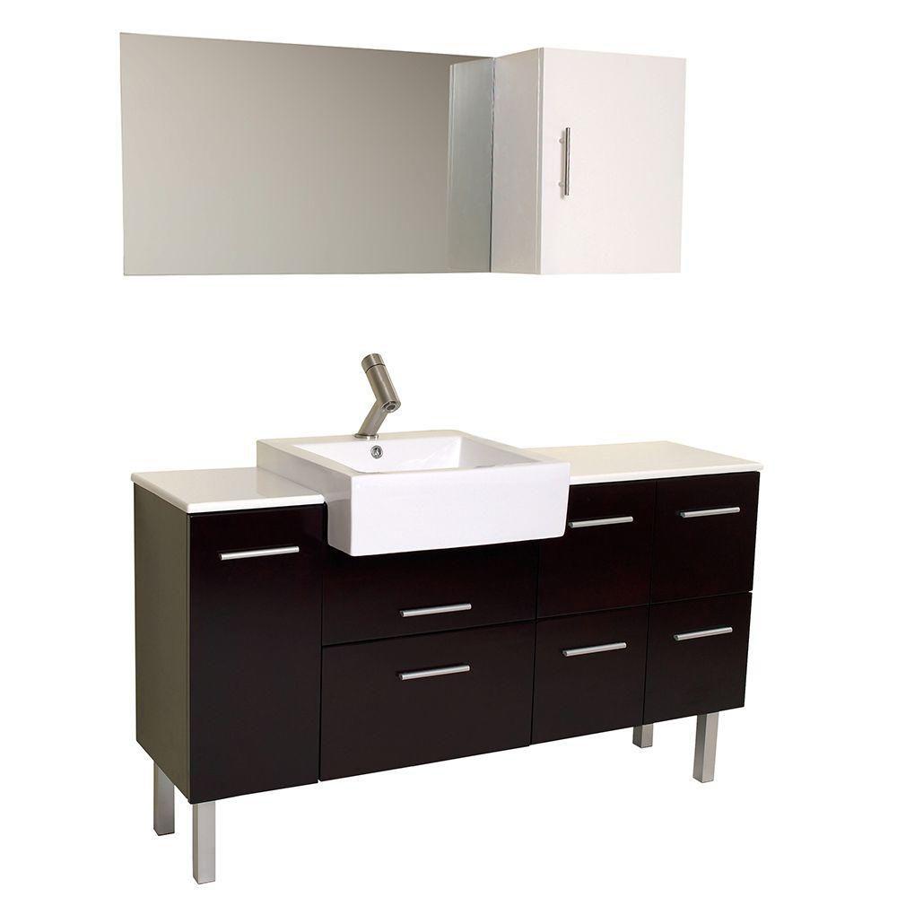 Serio Meuble-lavabo de salle de bains moderne espresso avec miroir et armoire latérale
