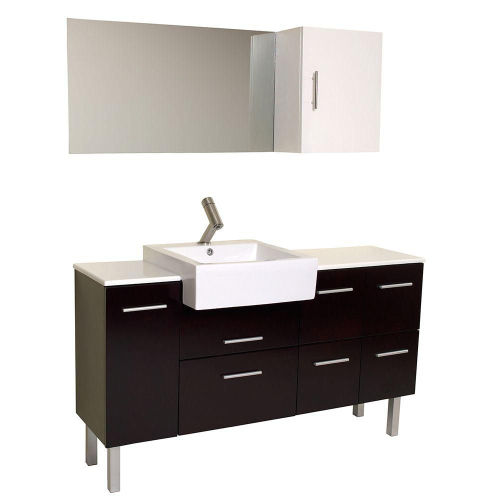 Serio 57-inch W Vanity in Espresso Finish with Mirror