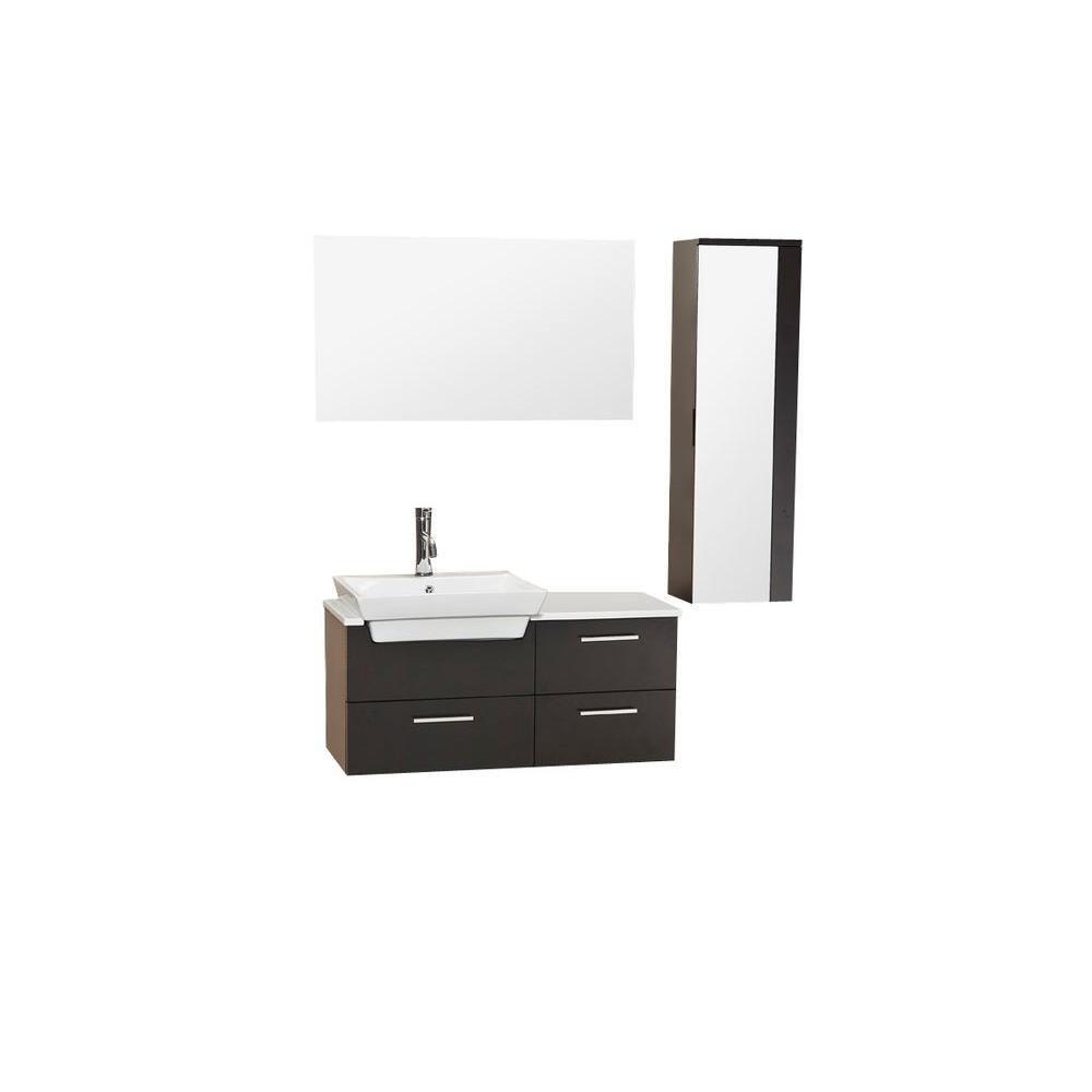 Caro Meuble-lavabo de salle de bains moderne espresso avec armoire latérale à miroir