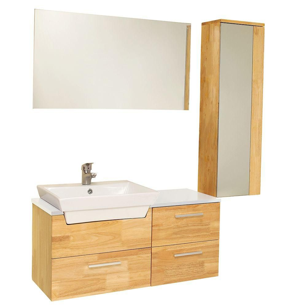 Caro 35 1/2-inch W Vanity in Natural Wood Finish with Mirrored Side Cabinet