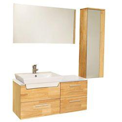 Fresca Caro Meuble-lavabo de salle de bains moderne bois naturel avec armoire latérale à miroir