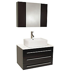 Fresca Modello 32-inch W 3-Drawer Wall Mounted Vanity in Black With Marble Top in White
