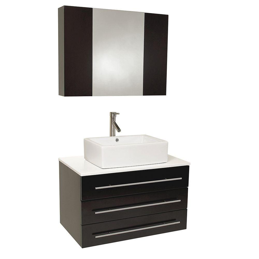 Modello 31 3/4-inch W Vanity in Espresso Finish with Marble Countertop