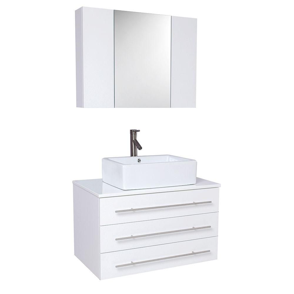 Modello 31 3/4-inch W Vanity in White Finish with Marble Countertop