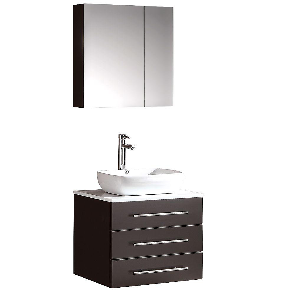 Modello 23.75-inch W 3-Drawer Wall Mounted Vanity in Black With Marble Top in White With Faucet