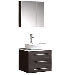 Fresca Modello 23.75-inch W 3-Drawer Wall Mounted Vanity in Black With Marble Top in White With Faucet