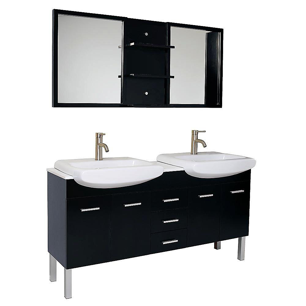 Vetta 59.75-inch W 3-Drawer 4-Door Vanity in Black With Marble Top in White, Double Basins