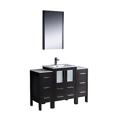 Torino 48-inch 2-Cabinet Vanity in Espresso with Ceramic Top in White with White Basin and Mirror
