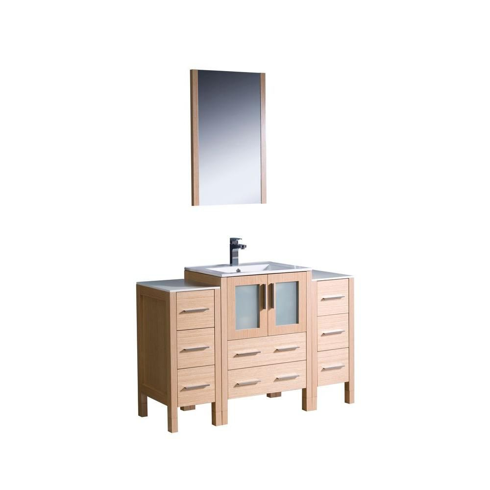 Torino 48-inch W Vanity in Light Oak Finish with 2 Side Cabinets and Undermount Sink