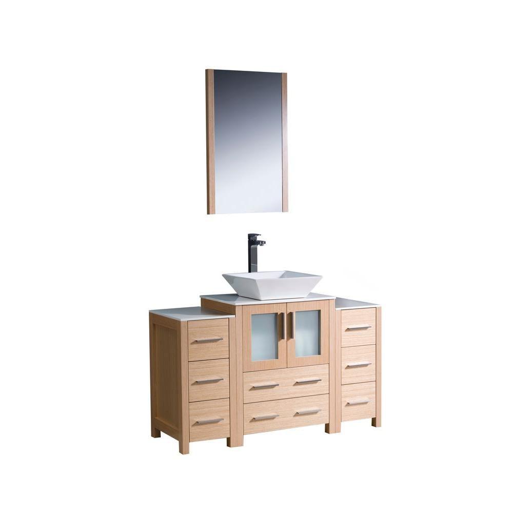 Torino Meuble-lavabo de salle de bains moderne 48 po chêne clair avec 2 armoires latérales et évi...