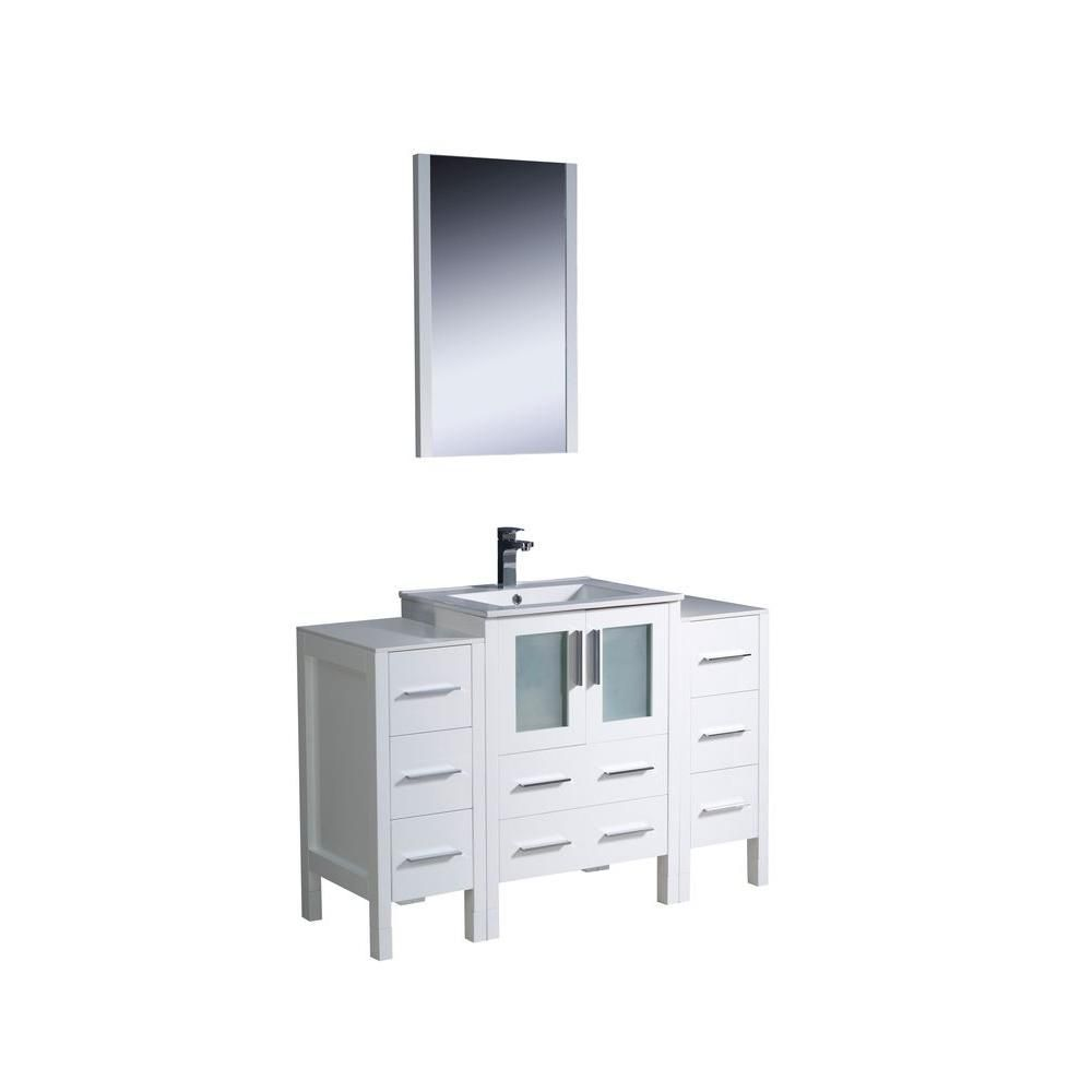 Torino 48-inch W Vanity in White Finish with Undermount Sink