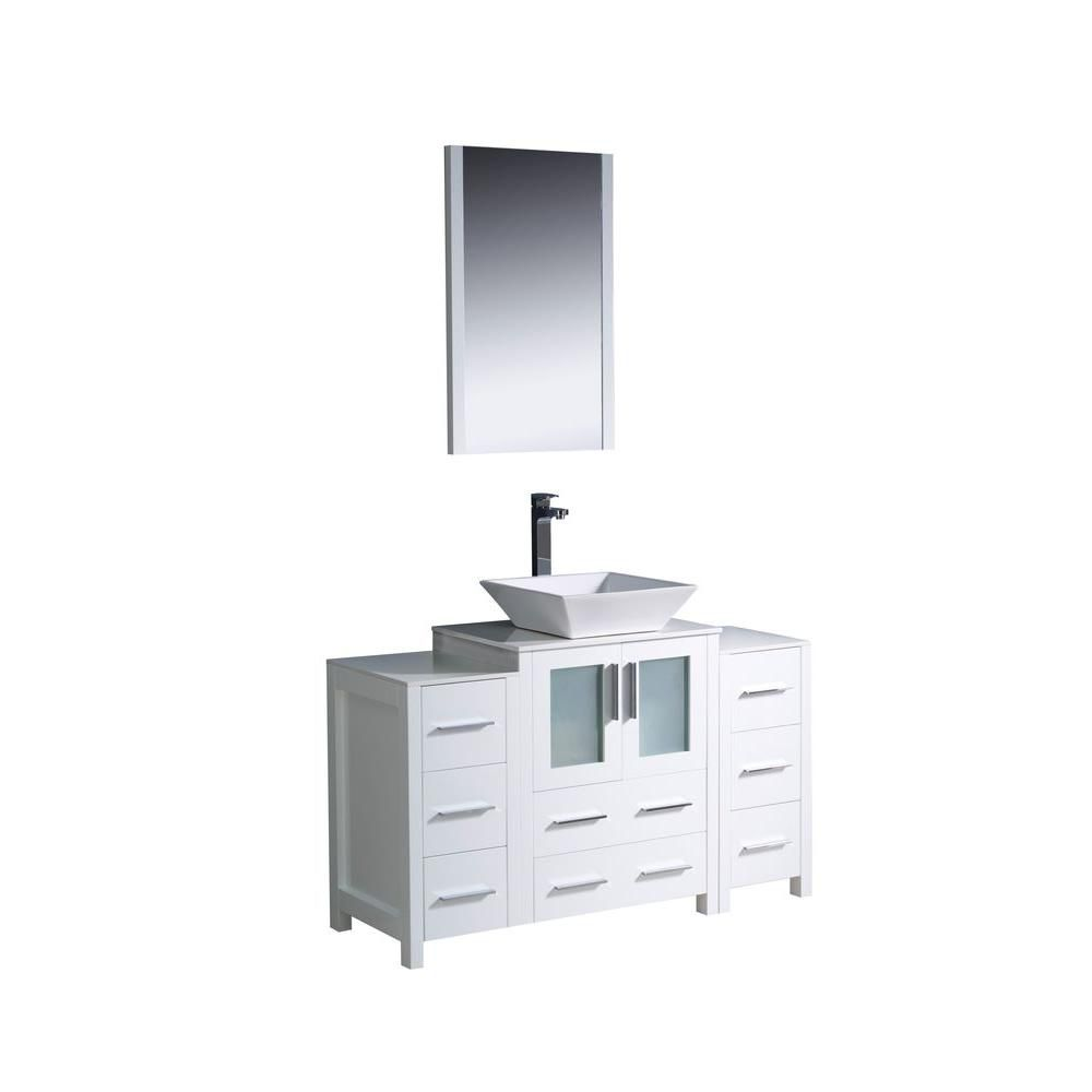 Torino 48-inch W Vanity in White Finish with Vessel Sink