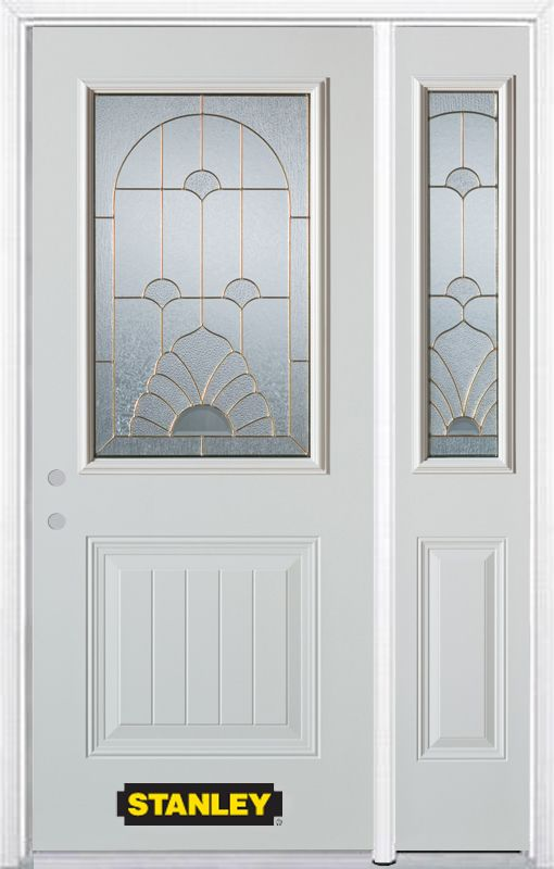 Stanley Doors 50.25 inch x 82.375 inch Florentine Brass 1/2 Lite 1-Panel Prefinished White Right-Hand Inswing Steel Prehung Front Door with Sidelite and Brickmould
