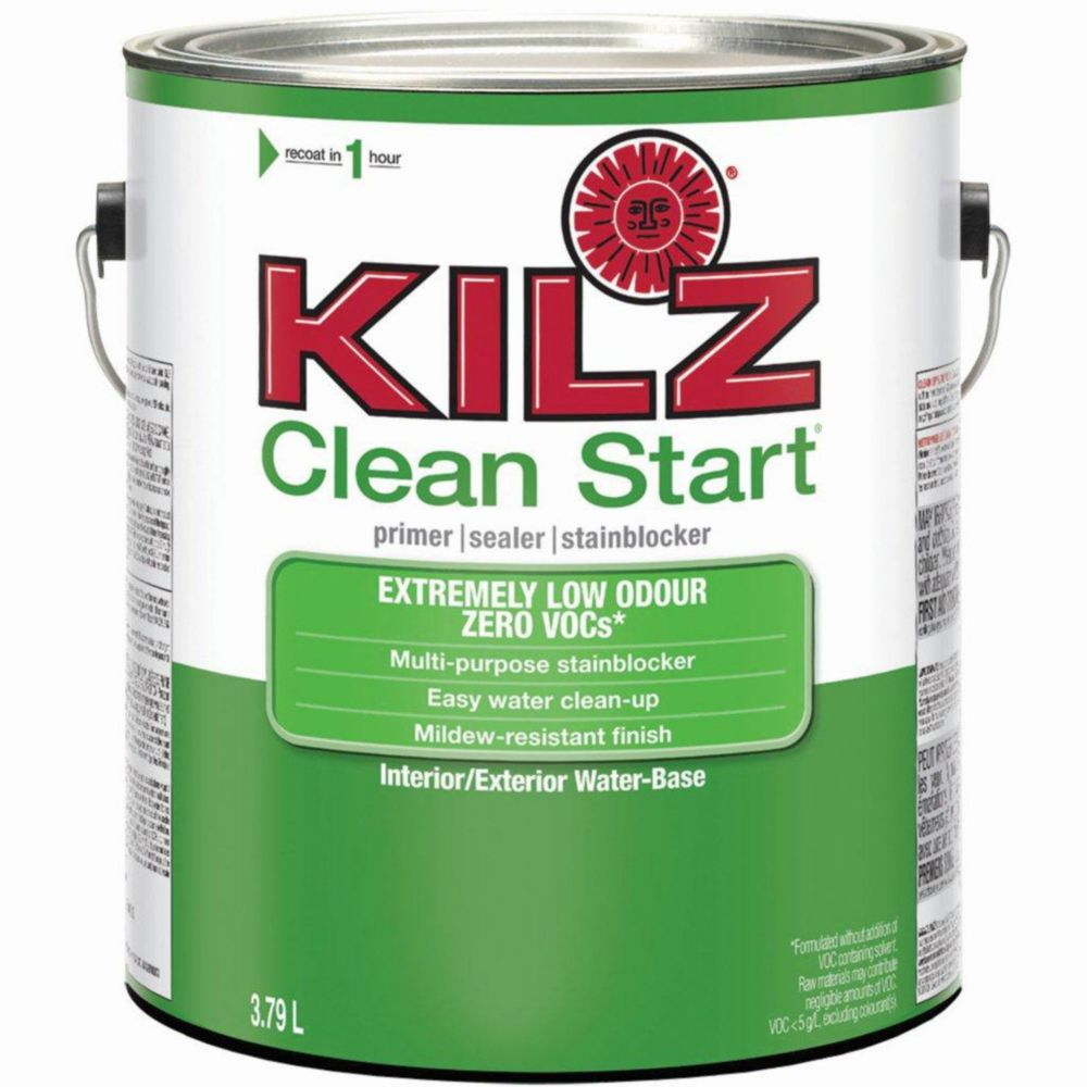 Kilz Kilz Clean Start Interior Exterior Primer Sealer Stainblocker L The Home Depot Canada