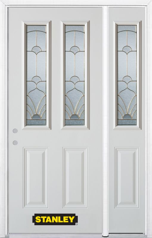 52-inch x 82-inch Florentine 2-Lite 2-Panel White Steel Entry Door with Sidelite and Brickmould
