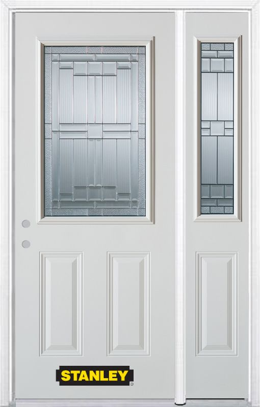 Stanley Doors 48.25 inch x 82.375 inch Seattle Zinc 1/2 Lite 2-Panel Prefinished White Right-Hand Inswing Steel Prehung Front Door with Sidelite and Brickmould