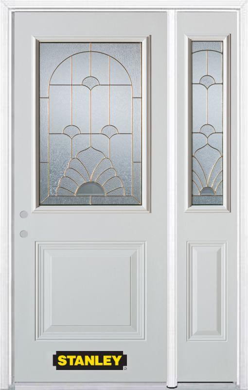 Porte dentrée en acier préfini en blanc, munie d'un panneau et dun 1/2 verre, 51 po x 82 po avec ...