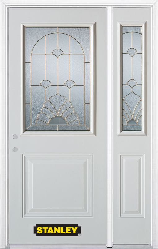 Stanley Doors 50.25 inch x 82.375 inch Florentine Brass 1/2 Lite 1-Panel Prefinished White Right-Hand Inswing Steel Prehung Front Door with Sidelite and Brickmould - ENERGY STAR®