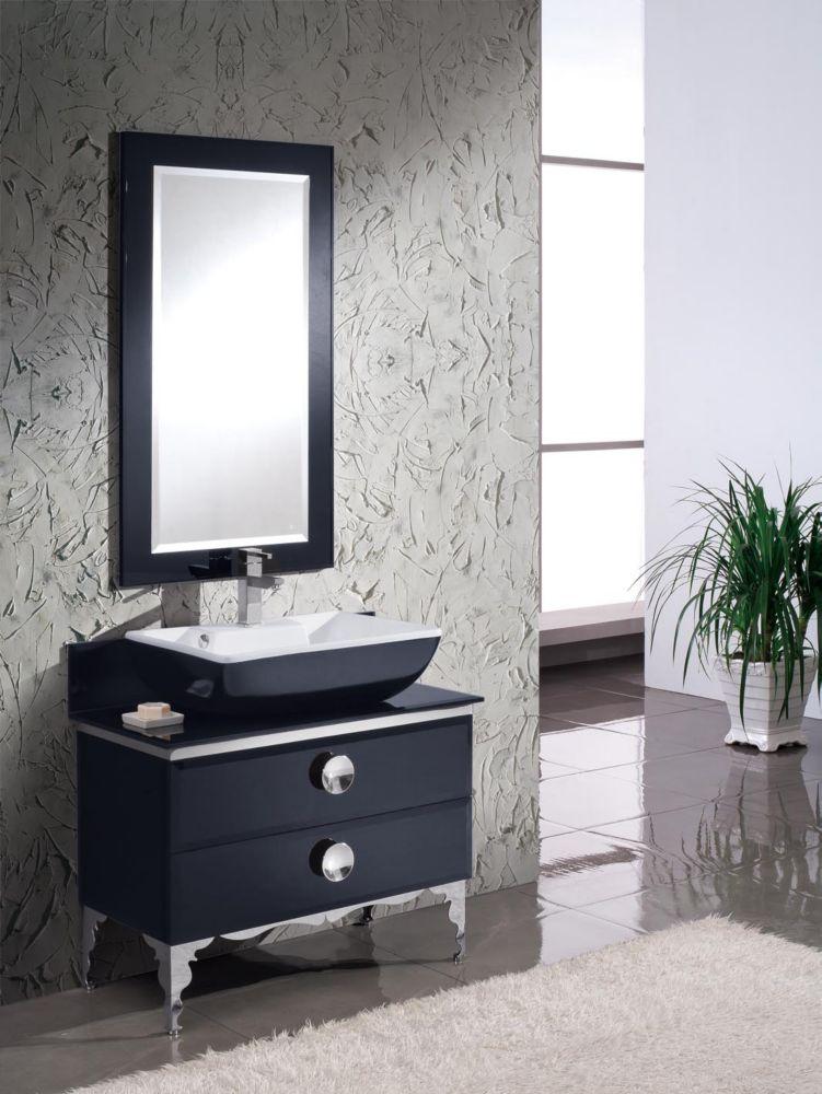 Moselle Meuble-lavabo de salle de bain en verre moderne 36 po avec miroir
