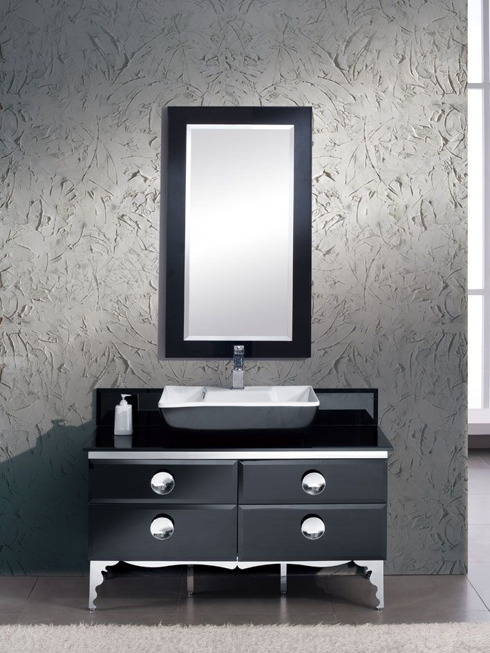 Moselle 47-inch W Vanity in Tempered Glass Finish with Mirror