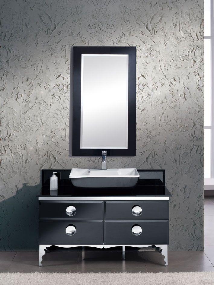 Fresca moselle meuble lavabo de salle de bain en verre for Meuble lavabo miroir