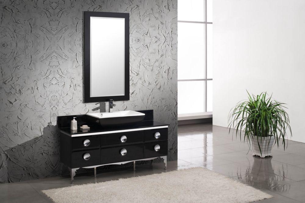 Moselle Meuble-lavabo de salle de bain en verre moderne 59 po avec miroir