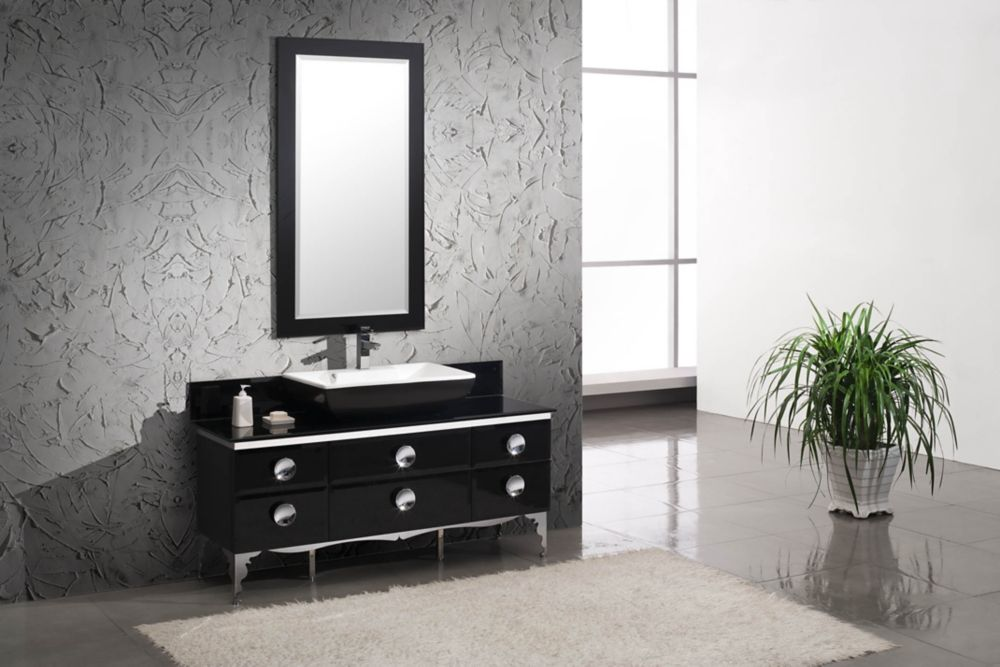 Moselle 59-inch W Vanity in Tempered Glass Finish with Mirror